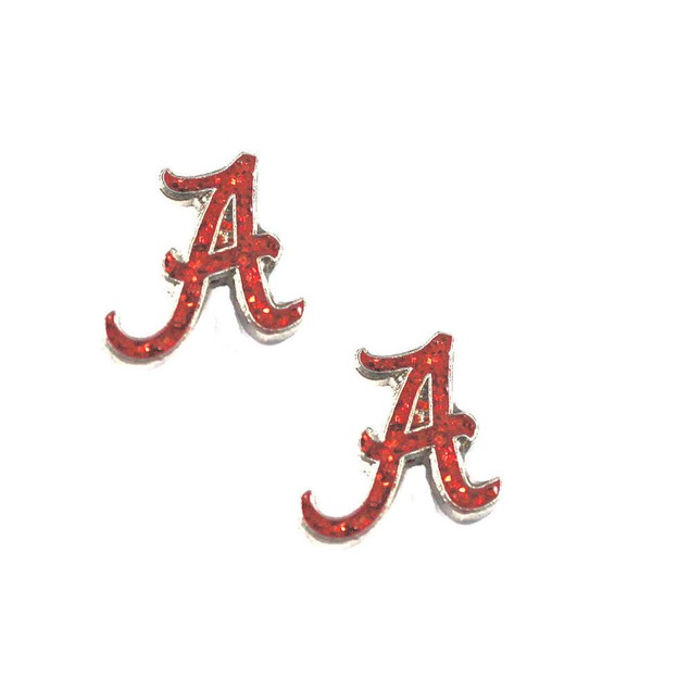 Alabama Crimson Tide Glitter Sparkle Post Stud logo Earring NCAA