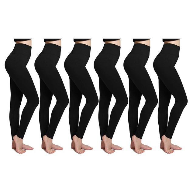6-Pack Women's Cozy Fleece-Lined Seamless Leggings