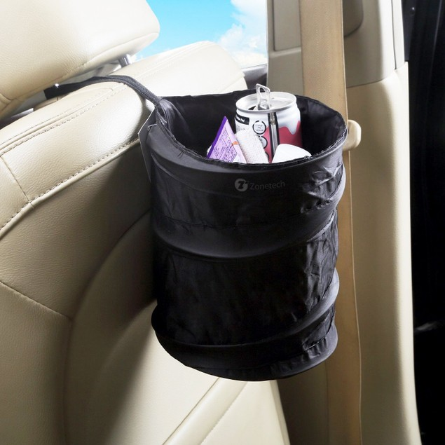 2-pack Zone Tech Portable Car Trash Can Collapsible Pop-up Leak Proof Bin
