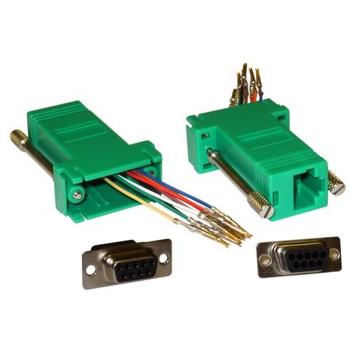 Modular Adapter, Green, DB9 Male to RJ45 Jack