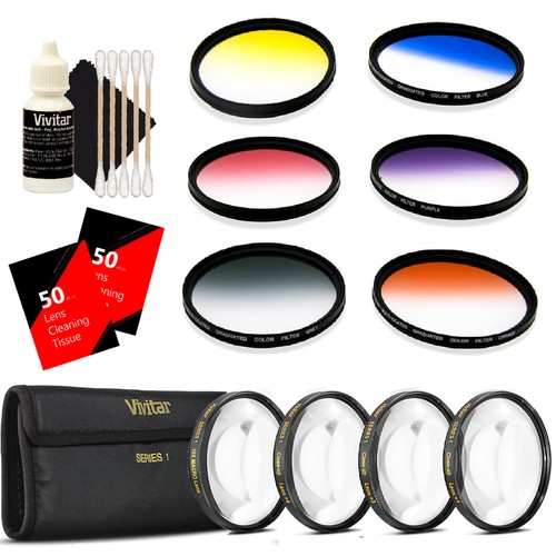 Vivitar 52mm Rotating Graduated 6 Piece Color Filter Kit + Vivitar 52mm Close Up Diopter Filters Set + 100 Lens Tissue Sheet + 3pc Cleaning Kit