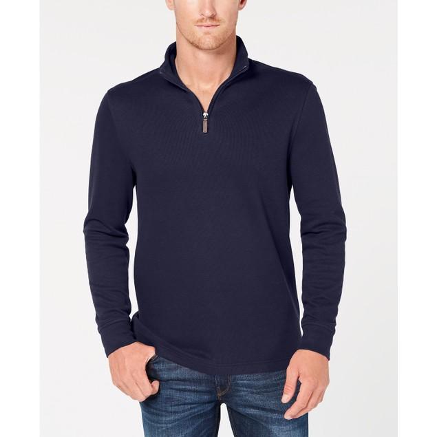 Tasso Elba Men's Birdseye Quarter-Zip Sweater Navy Size Small