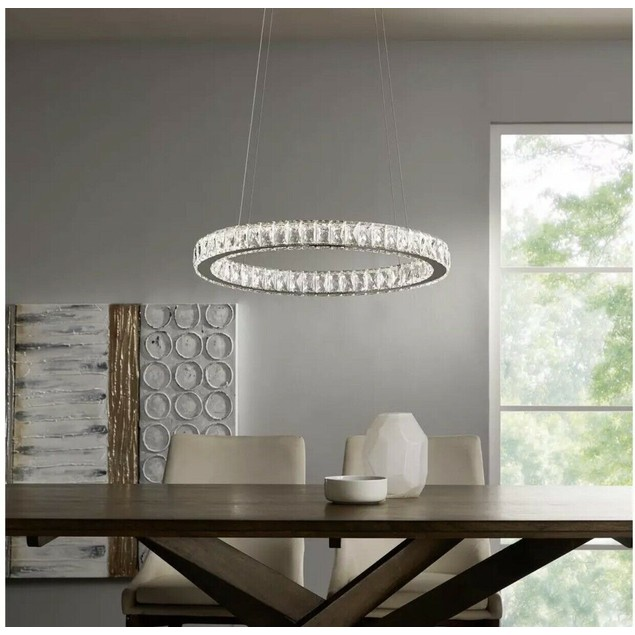 "Home Decorators Collection 24"" Chrome Integrated LED Pendant, Clear"