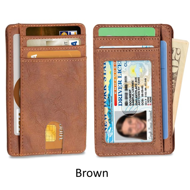 Slim Minimalist Front Pocket RFID Blocking Leather Wallet for Men & Women