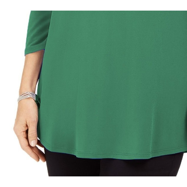 JM Collection Women's  Embellished Cold-Shoulder Top Green Size Large
