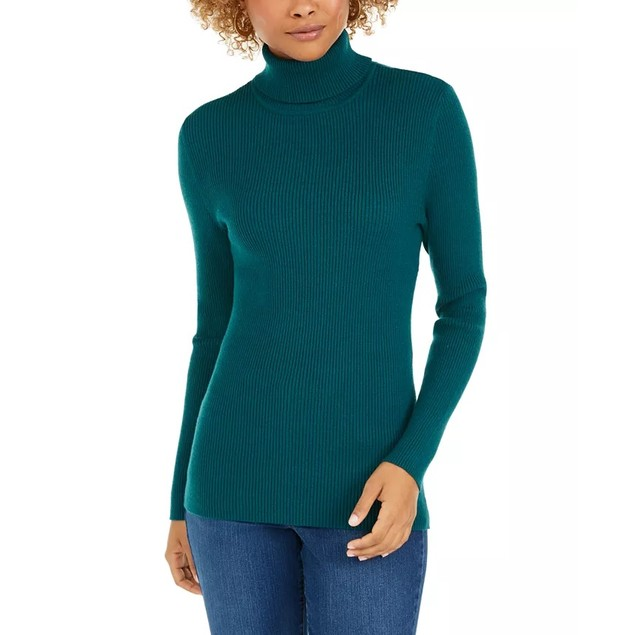 Style & Co Women's Ribbed Turtleneck Sweater Dark Green Size XX-Large