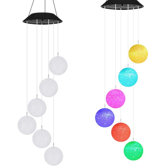 2 Pack Color-Changing LED Solar Round Ball Wind Chime Lights Garden Decor