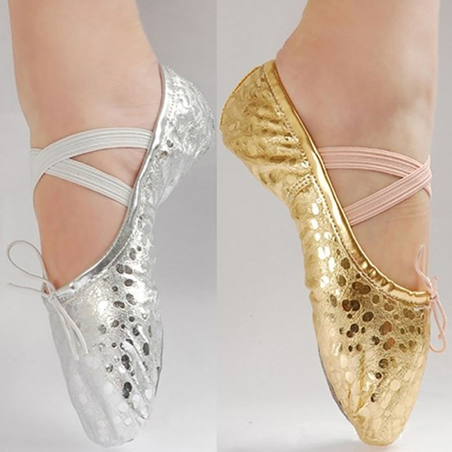 Girl Little Princess Shining Faux Leather Ballet Gymnastics Dance Shoes