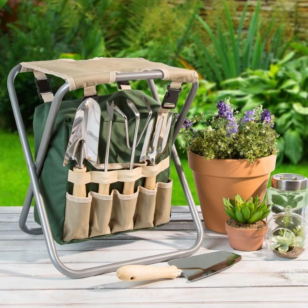 Pure Garden Folding Garden Stool with Tool Bag plus 5 Garden Tools
