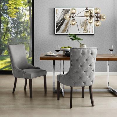 Ruben Leather PU Back Tufted Dining Chair w/Chrome Nailhead Trim (Set of 2)