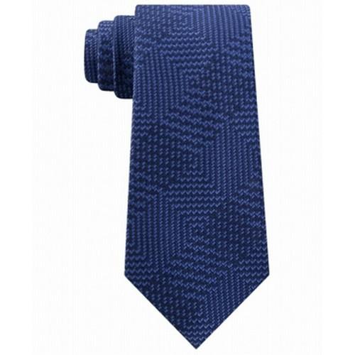Michael Kors Men's Textured Geometric Patchwork Tie Blue Size Regular