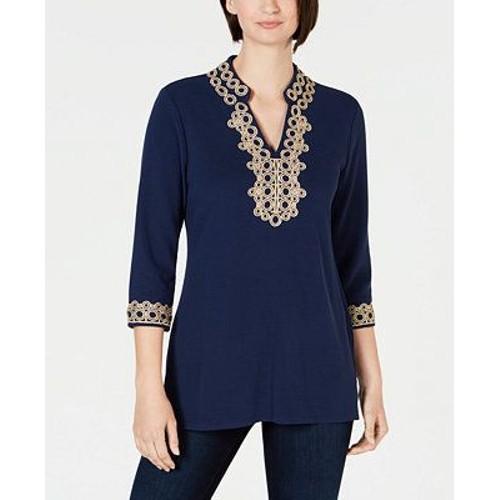 Charter Club Women's Lace-Trim Tunic Top Blue Size Large