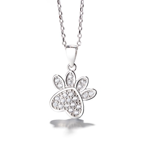 Sterling Silver Crystal Dog Paw Pendant Necklace