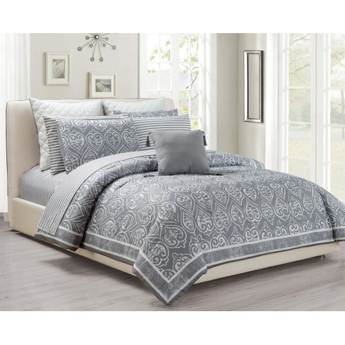 Mareeya 10-Piece Damask Print Oversized Comforter Set