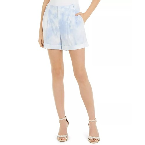 INC International Concepts Women's Tie-Dye Linen-Blend Shorts Blue Size 6