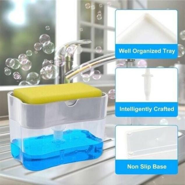 2 In 1 Soap Dispenser Washing Sponge Storage Box Kitchen Accessories