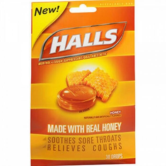 Halls Menthol Oral Anesthetic Drops Honey Flavor