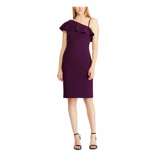 Lauren Ralph Lauren Women's Ruffled Crepe Cocktail Dress Purple Size 18