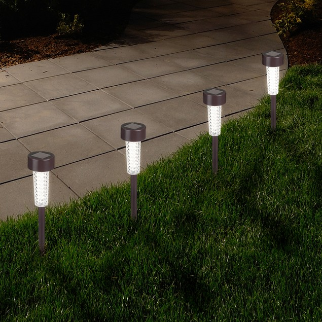 Pure Garden Textured LED Solar Path Lights - Bronze - Set of 6