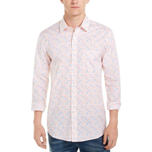 Club Room Men's Tennis Player Print Shirt White Size Medium