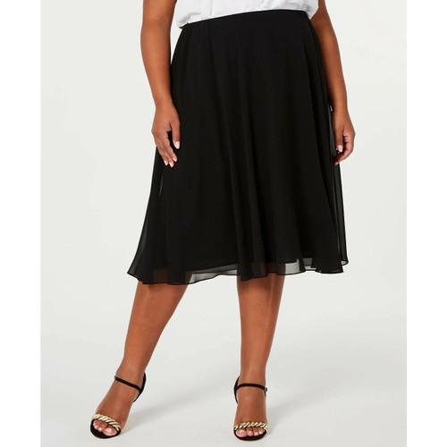 Alex Evenings Women's Plus Midi Length Skirt Black Size 2X