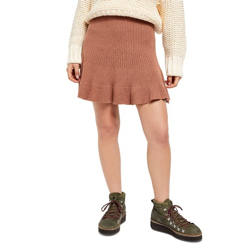 Free People Juniors' Solid Gold Ribbed Skirt Brown Size Small
