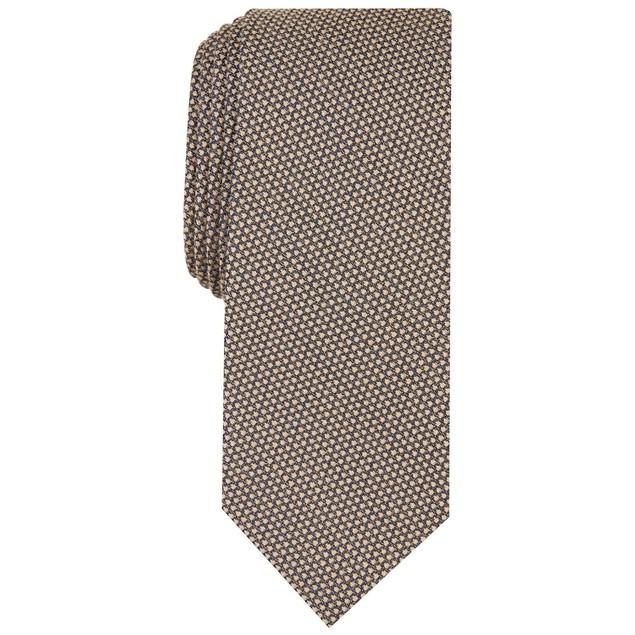 Bar III Men's Knit Geo-Print Tie Brown Size Regular