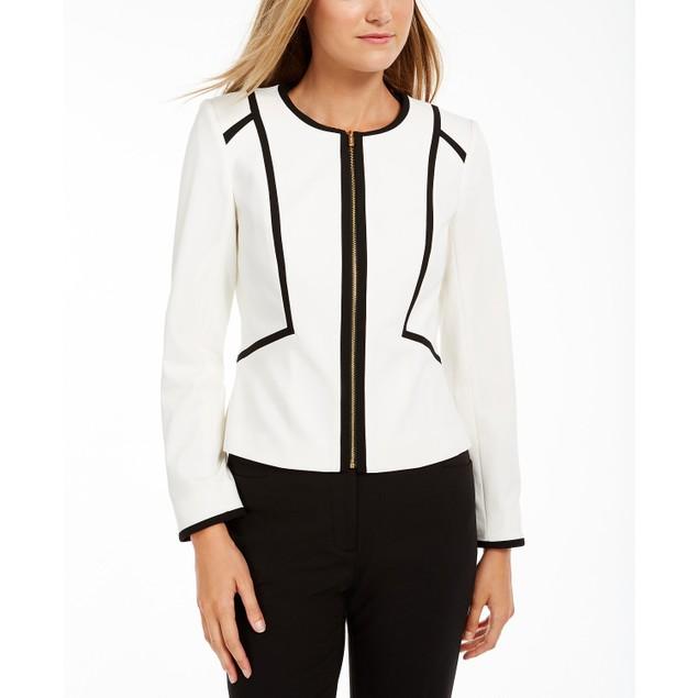 Calvin Klein Women's Piped Zip-Front Jacket White Size 6