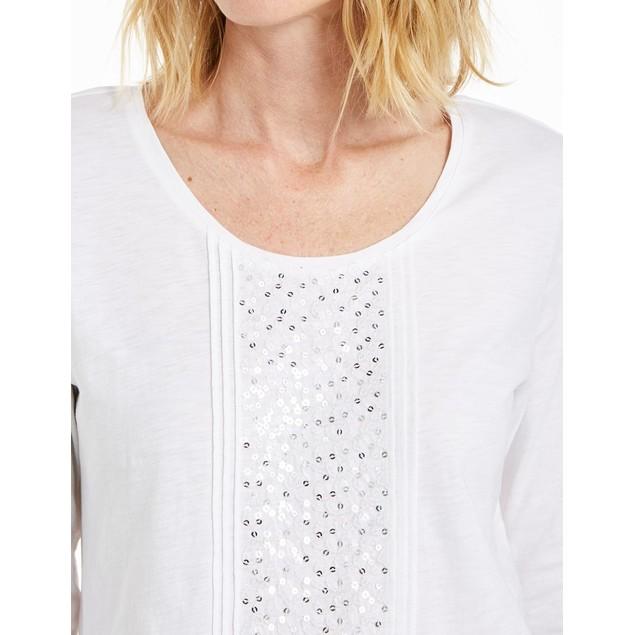 JM Collection Women's Sequined Scoop-Neck Top White Size Medium