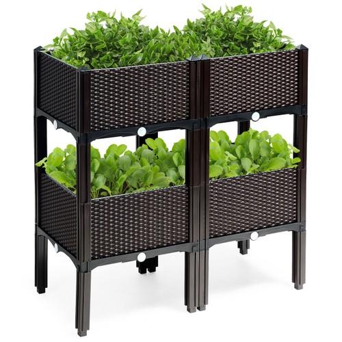 Costway Set of 4 Raised Garden Bed Elevated Flower Vegetable Herb Grow Plan