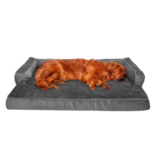 FurHaven Plush & Velvet Comfy Couch Memory Foam Sofa Pet Bed