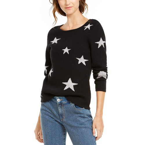 INC International Concepts Women's Star Pullover Sweater Black Size Small