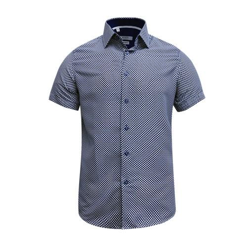 Monza Modern Fit Short Sleeve Royal Herringbone Dress Shirt