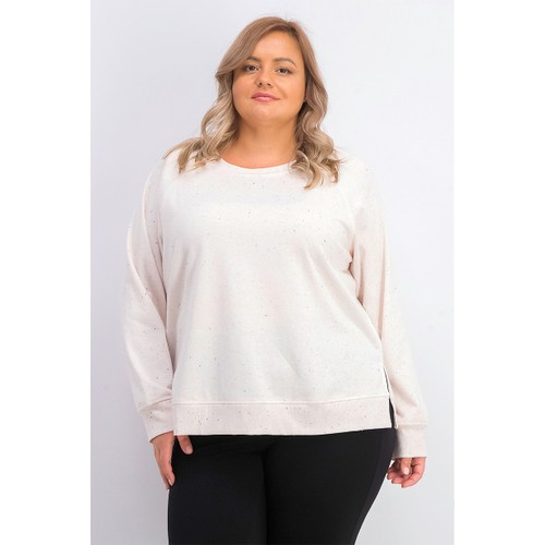 Style & Co Women's Speckled Sweatshirt White Size XX-Large