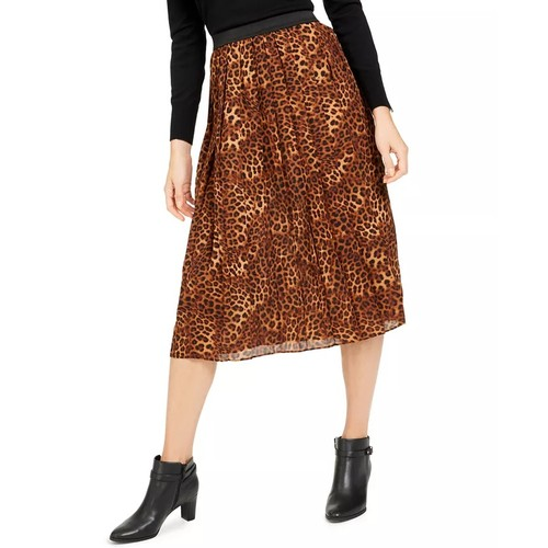Charter Club Women's Animal Print Pleated Skirt Beige Size Large