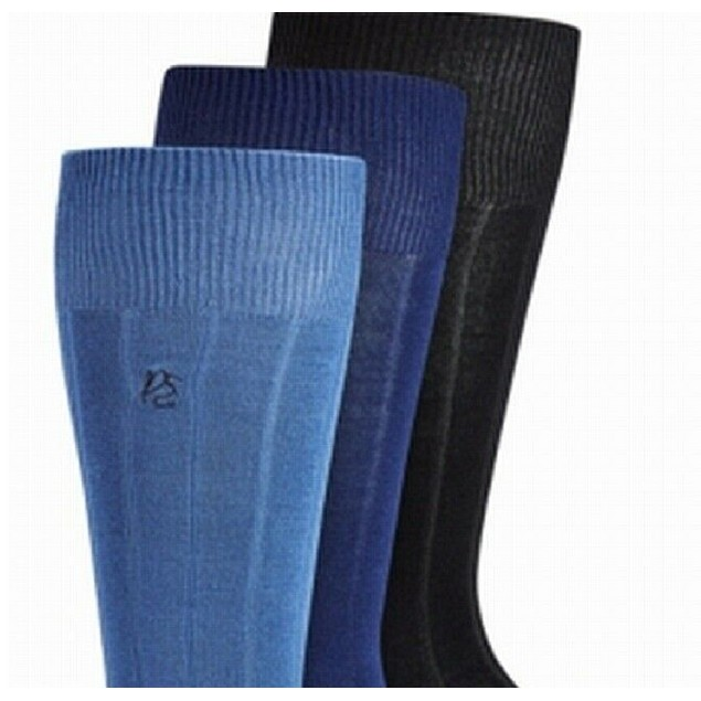 Perry Ellis Men's Solid Ribbed Rayon Dress Socks One Size