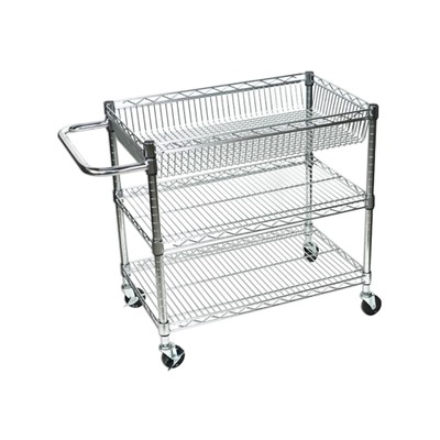"""Luxor 18"""" Large Wire Tub Three Shelves Cart"""