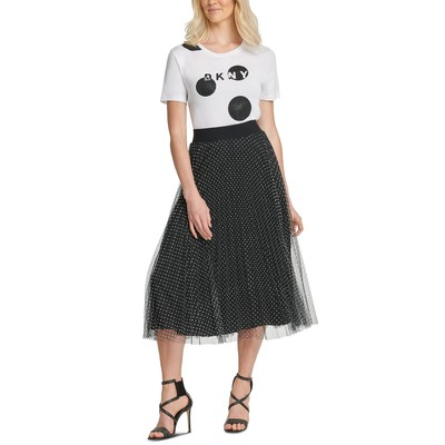 DKNY Women's Flocked-Mesh Midi Skirt Black Size Small