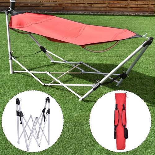 Costway Red Portable Folding Hammock Lounge Camping Bed Steel Frame Stand W