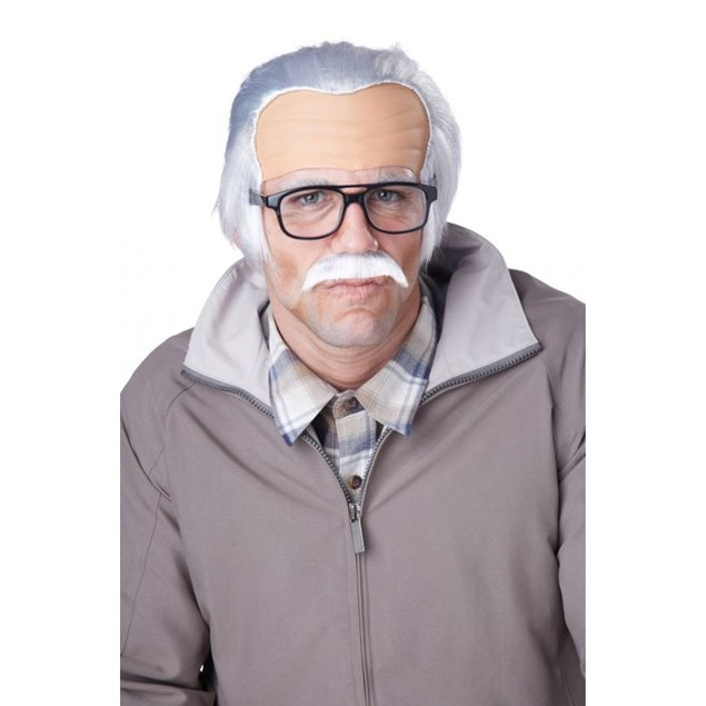 Rude Grandpa Wig And Mustache Bad Johnny Knoxville Jackass Movie Bald Old