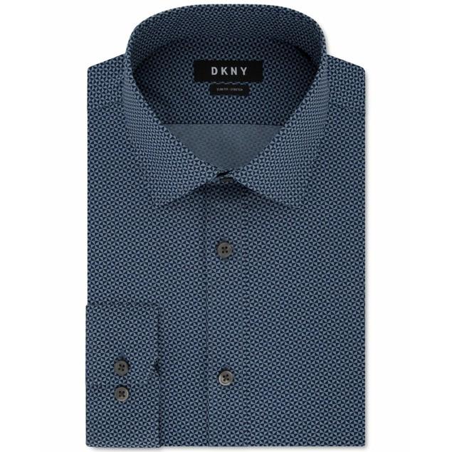 DKNY Men's Slim-Fit Textured Dress Shirt Blue Size 17.5x36-37