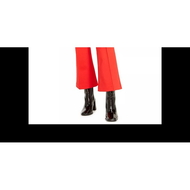 Bar III Women's Cropped Kick Flare Pants Red Size 14