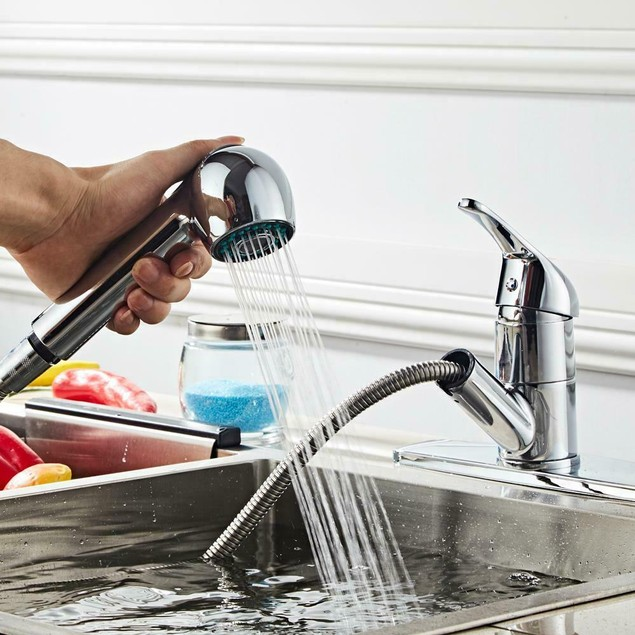Pull-Out Spray Kitchen Faucet Swivel Spout Sink Single Handle