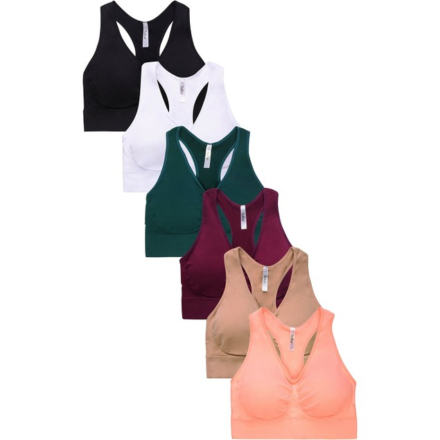 3-pack Sofra Seamless Racerback Sports Bra With Removable Pads