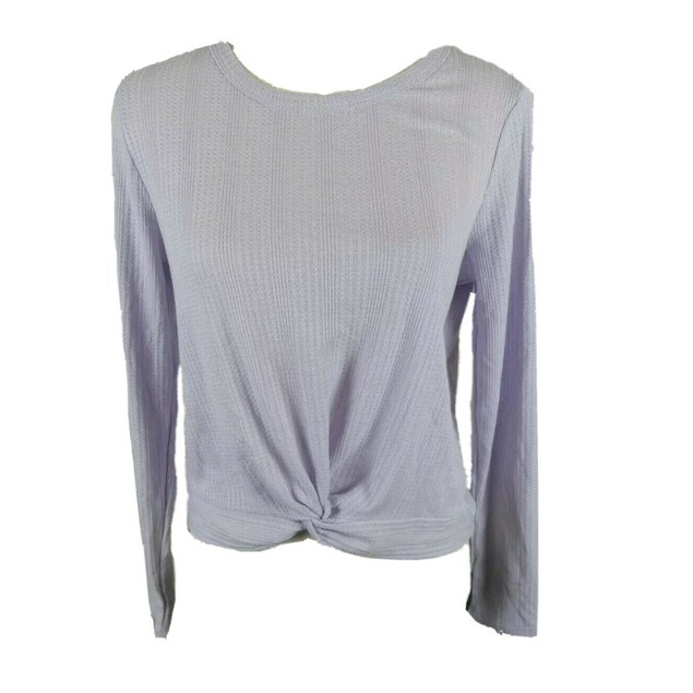 Pink Rose Juniors' Twisted Waffle-Knit Top Purple Size Large
