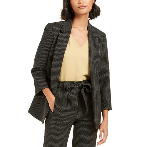 Bar III Women's Pinstripe Open-Front Blazer Black Size Medium