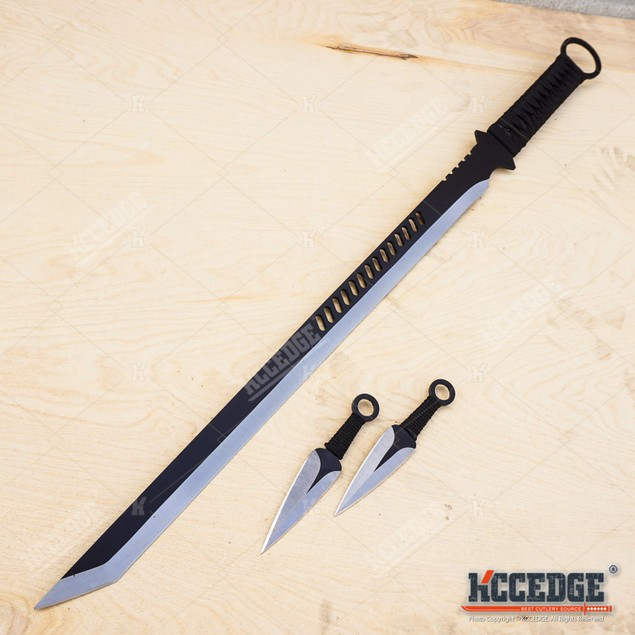 "27"" Ninja Sword TANTO Machete w 2 Throwing Knife Full Tang Tactical Blade"
