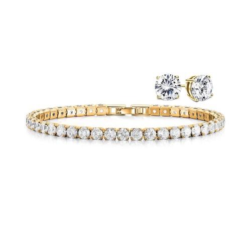 18k Gold Round Cut Tennis Bracelet And Studs Set - 2 Colors