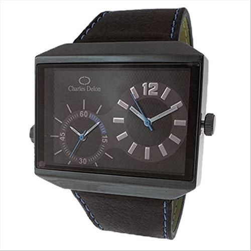 Charles Delon Men's Watches 5383 GBBL Black/Blue/Silver Leather Quartz Rectangle