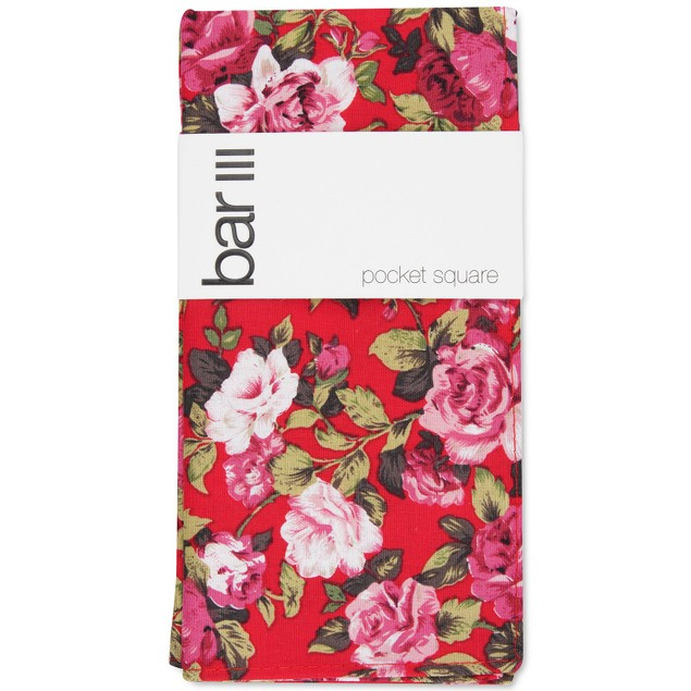 Bar III Men's Carson Floral Pocket Square Red Size Regular